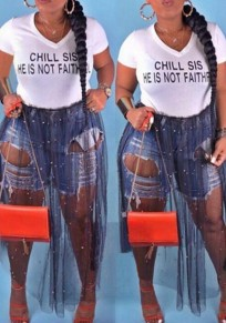"White Black Patchwork Pearl ""CHILL SIS HE IS NOT FAITHFUL"" Print Deep V-neck Casual Long T-Shirt"