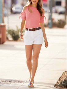 Pink Bow Cut Out Round Neck Short Sleeve Casual T-Shirt