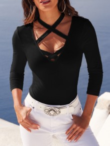 Black Tie Back Halter Neck Casual T-Shirt