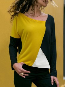 Black Color Block Print Long Sleeve Round Neck Fashion T-Shirt