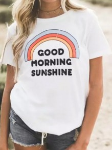"White ""GOOD HORNING SUNSHINE"" Print Rainbow Cute Casual T-Shirt"