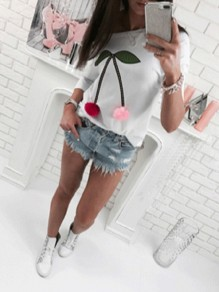 White Patchwork Print Round Neck Three Quarter Length Sleeve Fashion T-Shirt