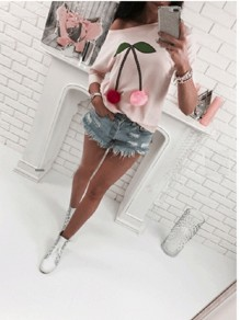 Pink Patchwork Print Round Neck Three Quarter Length Sleeve Fashion T-Shirt