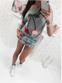 Grey Patchwork Print Round Neck Three Quarter Length Sleeve Fashion T-Shirt