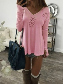 Pink Cut Out V-neck Long Sleeve Fashion T-Shirt