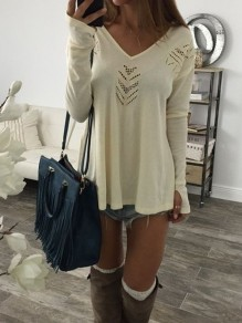 Beige Cut Out V-neck Long Sleeve Fashion T-Shirt