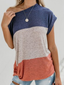 Blue Striped One Shoulder Short Sleeve Casual T-Shirt