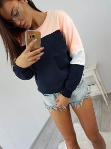 Blue Patchwork Print Round Neck Long Sleeve Casual T-Shirt