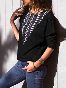 Black Floral Round Neck Long Sleeve Casual T-Shirt