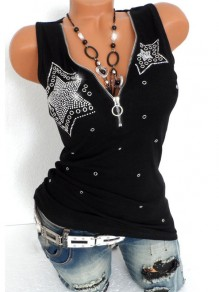 Black Zipper Collarless V-neck Sleeveless Fashion T-Shirt