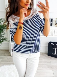 Royal Blue Striped Print Lace Elbow Sleeve Fashion T-Shirt