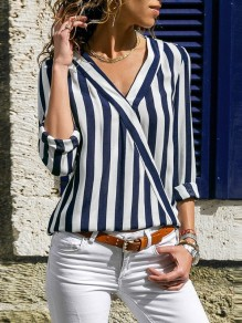 Blue Striped V-neck Three Quarter Length Sleeve Fashion T-Shirt