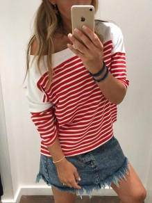 Red White Striped Print One Shoulder Dolman Sleeve T-Shirt