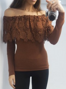 Brown Patchwork Lace Ruffle Off Shoulder Long Sleeve Fashion T-Shirt