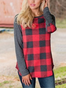 Red-Grey Plaid Long Sleeve Casual T-Shirt