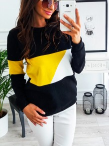Yellow Patchwork Print Round Neck Long Sleeve Casual T-Shirt