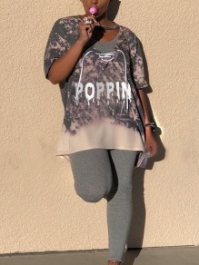 "Grey ""POPPIN""Burning Flower Print Cut Up Lace-up Short Sleeve Casual T-Shirt"