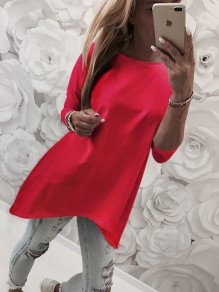 Red Irregular Round Neck Long Sleeve Casual T-Shirt