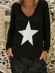 Black Star Print V-neck Long Sleeve Casual T-Shirt