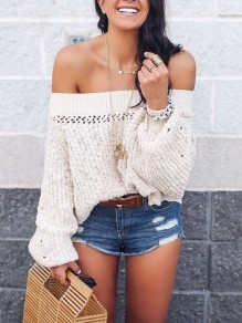 Beige Off Shoulder Cut Out Lantern Sleeve Draped Cute Sweet Casual Pullover Sweater
