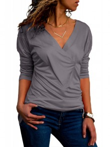 Grey Cross Pleated Bowknot Comfy Slim Long Sleeve V-neck Casual Cute T-Shirt