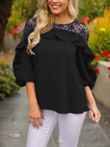 Black Patchwork Lace Ruffle Three Quarter Length Sleeve Round Neck Casual T-Shirt