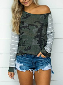 Green Camouflage Striped One Off Shoulder Long Sleeve Casual T-Shirt