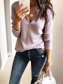 Pink Cut Out V-neck Long Sleeve Casual T-Shirt