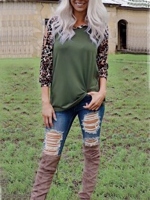 Green Leopard Print Cut Out Long Sleeve Casual T-Shirt