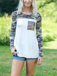 White Camouflage Print Sequin Pockets Long Sleeve Casual Fashion Comfy T-Shirt