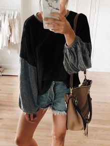 Black Patchwork Round Neck Long Sleeve Fashion T-Shirt