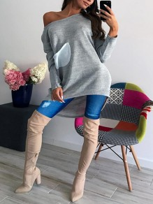 Grey Pockets Irregular Round Neck Long Sleeve Casual T-Shirt
