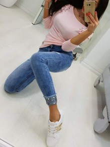 Pink Lace-Up Drawstring Round Neck Long Sleeve Casual T-Shirt