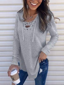 Grey Lace-Up Drawstring V-neck Irregular Long Sleeve Casual T-Shirt