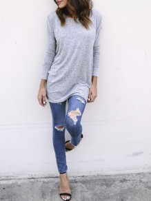 Grey Cross Back Round Neck Long Sleeve Fashion T-Shirt