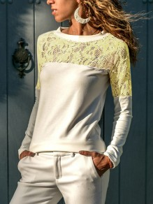 White Patchwork Lace Cut Out Round Neck Long Sleeve Casual T-Shirt