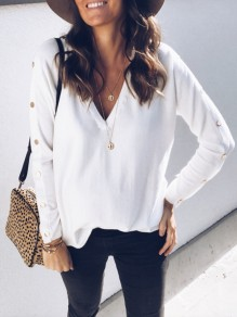 White Patchwork Studded V-neck Long Sleeve Casual T-Shirt