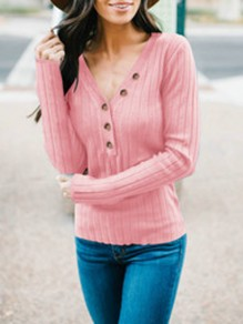 Pink Buttons V-neck Long Sleeve Casual T-Shirt