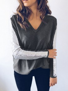 Grey Patchwork Sequin V-neck Long Sleeve Fashion T-Shirt