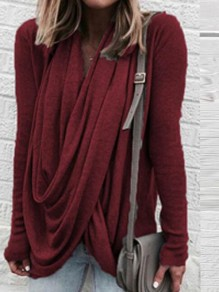 Burgundy Cross Irregular Cowl Neck Long Sleeve Casual T-shirt