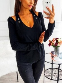 Black Cut Out Sequin V-neck Long Sleeve Casual T-Shirt
