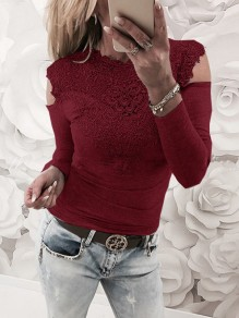 Wine Red Patchwork Lace Cut Out Round Neck Fashion T-Shirt