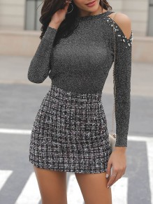 Grey Cut Out Pearl Round Neck Long Sleeve Fashion T-Shirt