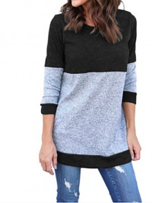 Blue Tiered Long Sleeve Round Neck Going out T-Shirt
