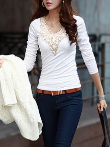 White Print Deep V-neck Long Sleeve Going out T-Shirt