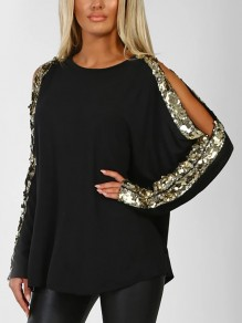 Black Sequin Cut Out Round Neck Long Sleeve Casual T-Shirt