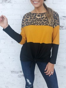Leopard Patchwork Bow Office Worker/Daily Cute Fashion T-Shirt