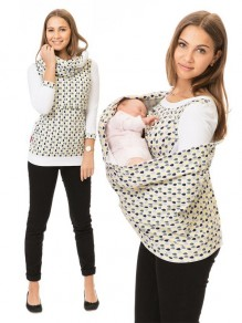 Khaki Polka Dot Cut Out Irregular Collar Daily Maternity T-Shirt