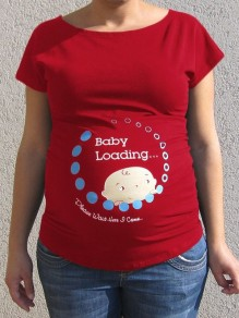 "Red ""Baby Loadying"" Round Neck Maternity For Babyshowes Maternity T-Shirt"