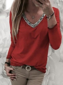 Red Patchwork Beading V-neck Long Sleeve Fashion T-Shirt